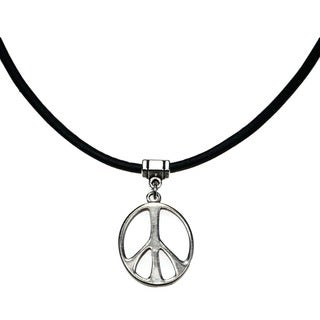 Jewelry by Dawn Silvertone Peace Sign Greek Leather Necklace - Black/silver