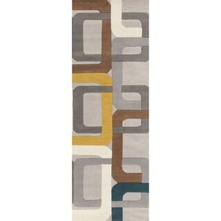 Hand-tufted Bassenge Light Grey Geometric Squares Wool Rug (2'6 x 8')