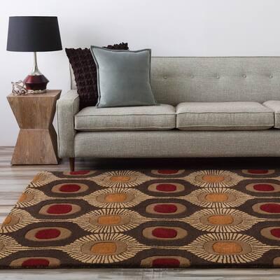 Hand-tufted Bastogne Espresso Moroccan Tile Wool Area Rug (9' x 12') - Red/Orange - 9' x 12'/Surplus