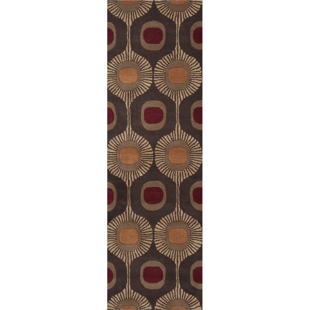 Hand-tufted Bastogne Espresso Moroccan Tile Wool Rug (2'6...