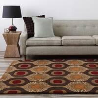 Hand-tufted Bastogne Espresso Moroccan Tile Wool Area Rug - 2'6 x 8'