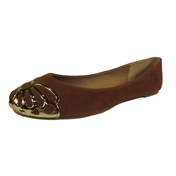 Betani by Beston Women's 'Betty' Tan Metal-capped Ballet Flats