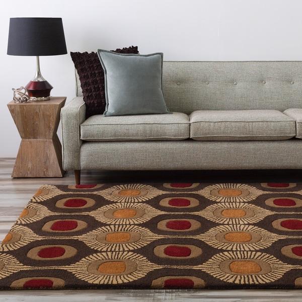 Hand-tufted Bastogne Espresso Moroccan Tile Wool Area Rug (6' x 9') - Red/Orange - 6' x 9'/Surplus