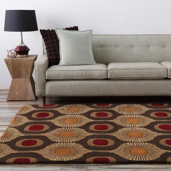 "Hand-tufted Bastogne Espresso Moroccan Tile Wool Area Rug - 7'6"" x 9'6"""