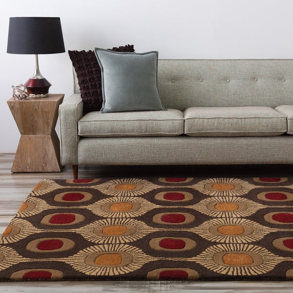 Hand-tufted Bastogne Espresso Moroccan Tile Wool Area Rug (7'6 x 9'6)