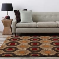 "Hand-tufted Bastogne Espresso Moroccan Tile Wool Area Rug - 7'6"" x 9'6"""