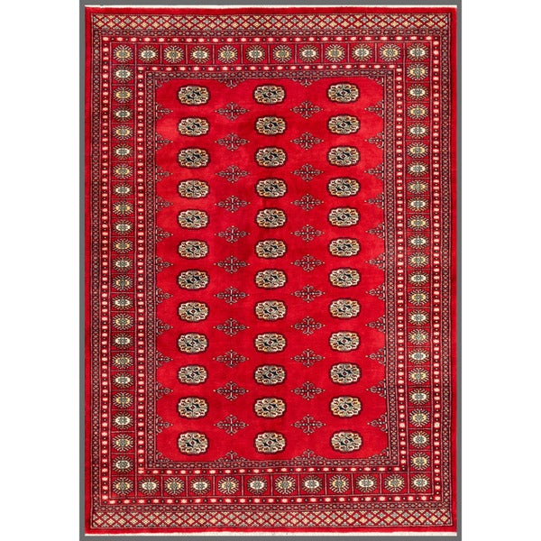 Pakistani Hand-knotted Bokhara Red/ Ivory Wool Rug (5'8 x 8')