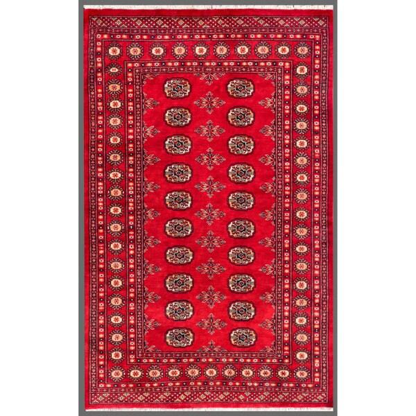 "Pakistani Hand-Knotted Bokhara Red/Ivory Geometric Wool Rug (4' x 6'2"")"