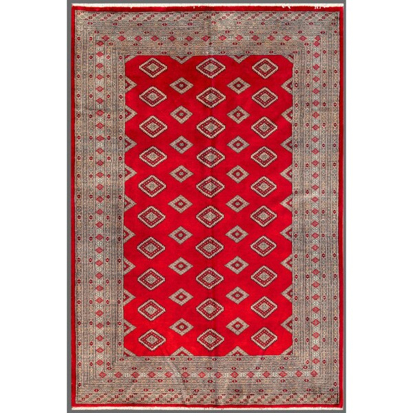 Pakistani Hand-knotted Bokhara Red/ Beige Wool Rug (6' x 8'9)
