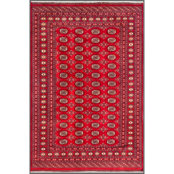 """Pakistani Hand-Knotted Bokhara Traditional Red/Ivory Wool Rug (6' x 8'10"""")"""