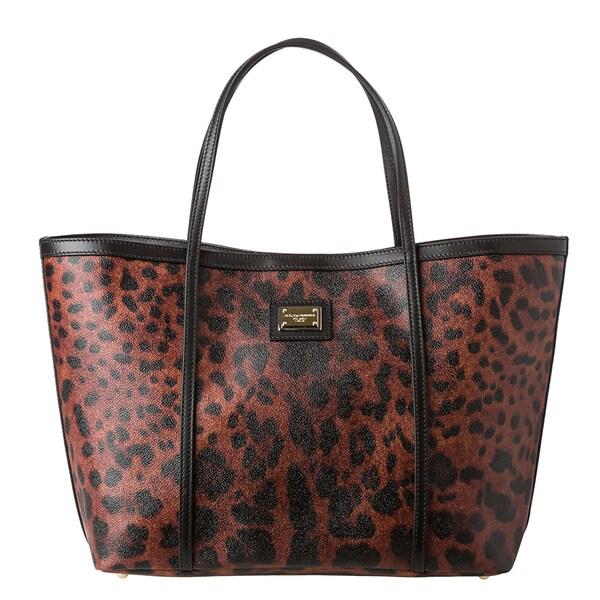 Dolce & Gabbana Brown/ Black Leopard Print Tote Bag