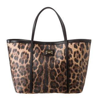 Dolce Gabbana Tan Black Leopard Print Tote Bag