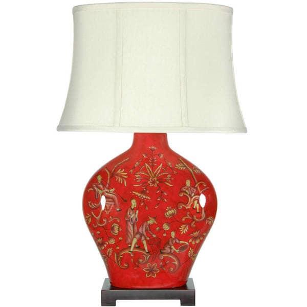 Handmade Fruitful Harvest Porcelain Lamp (China)