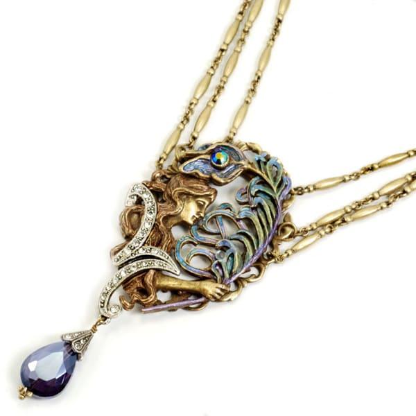 Sweet Romance Art Nouveau Peacock Feather Statement Necklace