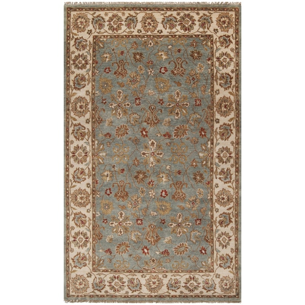 Hand-knotted Deltana Blue Wool Area Rug - 5' x 8'
