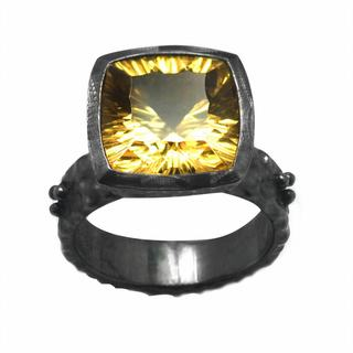 De Buman Sterling Silver Genuine Citrine Antiqued Ring