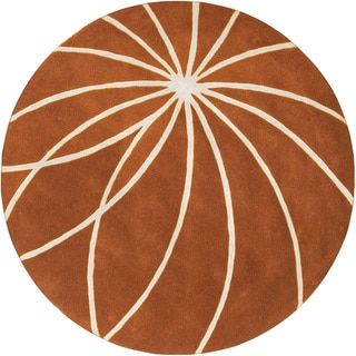Hand-tufted Beauraing Carmine Floral Wool Rug (6' Round)