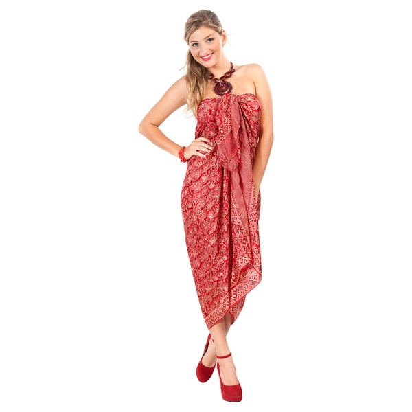 Handmade Assorted Burgundy Silk Sarong (Indonesia)
