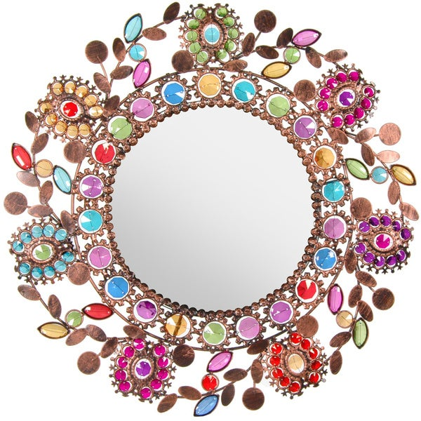 Flowing Leaves and Flowers Beaded Mirror (China)