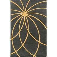 Hand-tufted Beauvechain Iron Ore Floral Wool Area Rug - 5' x 8'