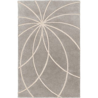Hand-tufted Beernem Dove Grey Floral Wool Rug (2' x 3')