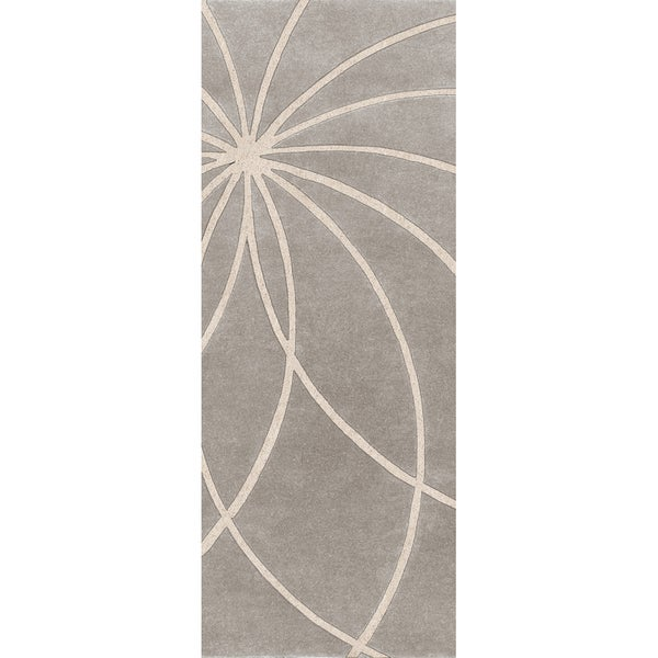 Hand-tufted Beernem Dove Grey Floral Wool Rug (3' x 12')
