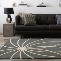Hand-tufted Beernem Dove Grey Floral Wool Area Rug (6' x 9')