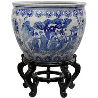 Handmade Porcelain 14-inch Blue and White Ladies Fishbowl (China)