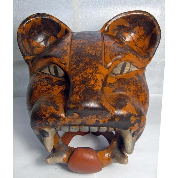 Handcrafted Ceramic Aztec Jaguar Head (Mexico)