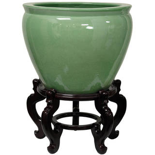 Link to Porcelain 14-inch Celadon Fishbowl (China) Similar Items in Planters, Hangers & Stands