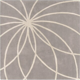 Hand-tufted Beernem Dove Grey Floral Wool Rug (6' Square)
