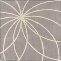 Hand-tufted Beernem Dove Grey Floral Wool Area Rug (6' Square)