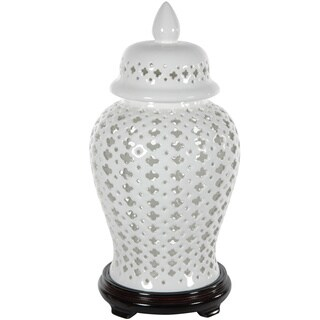 Handmade Porcelain 16-inch Carved Lattice Decorative Temple Jar (China)