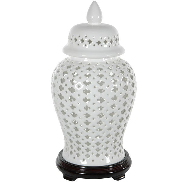 Porcelain 16-inch Carved Lattice Decorative Temple Jar (China)
