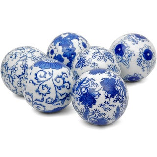 Blue and White Decorative 3-inch Porcelain Ball Set of 6 (China)