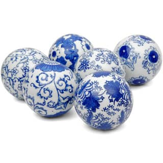 Handmade Blue and White Decorative 3-inch Porcelain Ball Set of 6 (China)|https://ak1.ostkcdn.com/images/products/7627268/P15046652.jpg?impolicy=medium