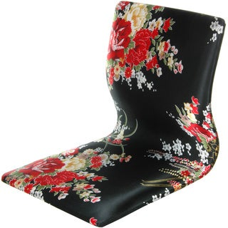 Handmade Tatami Black and Red Hibiscus Meditation Backrest Chair (China)