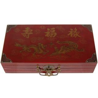 Handmade Red Lacquer Chess Set Box (China)
