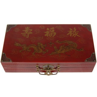 Handmade Red Lacquer Chess Set Box (China)
