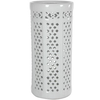 Handmade Dolomite 17-inch Carved Lattice Decorative Umbrella Stand (China)