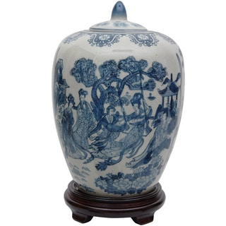 Porcelain 11-inch Blue and White Ladies Vase Jar (China)