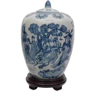 """Handmade 11"""" Porcelain Blue and White Vase Jar"""