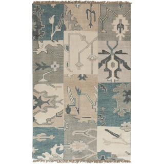 Hand-knotted Sterling Blue Wool Rug (5' x 8')