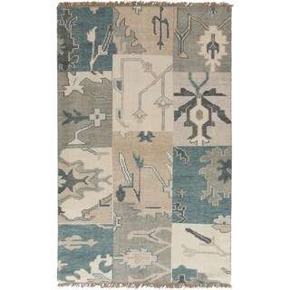 Hand-knotted Sterling Blue Wool Area Rug - 5' x 8'