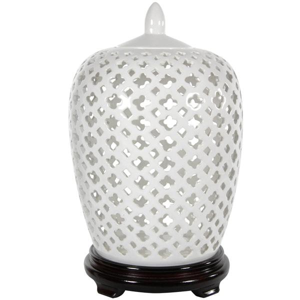 Handmade Dolomite 12 Inch Carved Lattice Decorative Vase