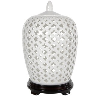 Handmade Dolomite 12-inch Carved Lattice Decorative Vase Jar (China)