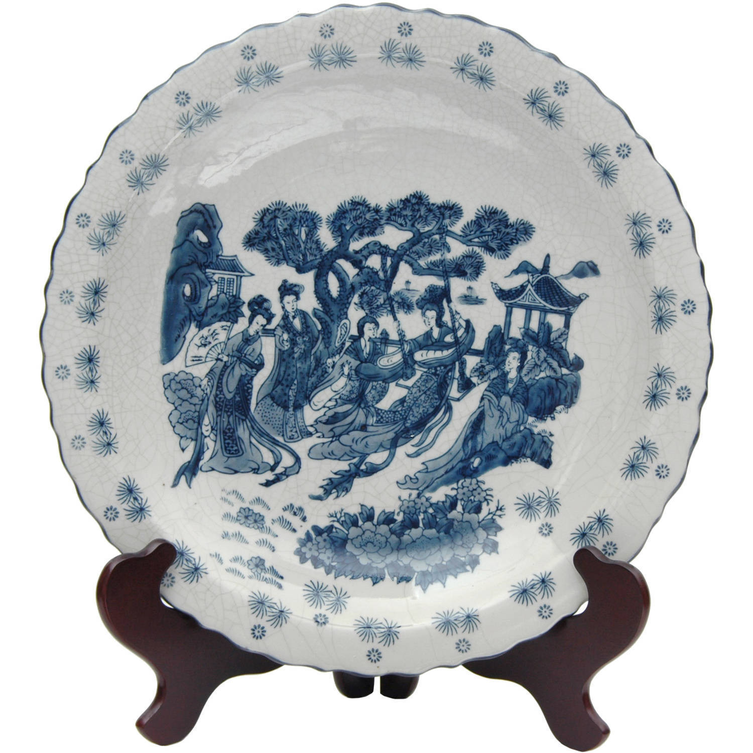 Dynasty Porcelain 14-inch Blue and White Ladies Plate (Ch...