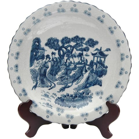 Porcelain 14-inch Blue and White Ladies Plate (China)