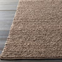 "Hand-woven Nome Solid Casual Brown Wool Area Rug - 2'6"" x 8'"