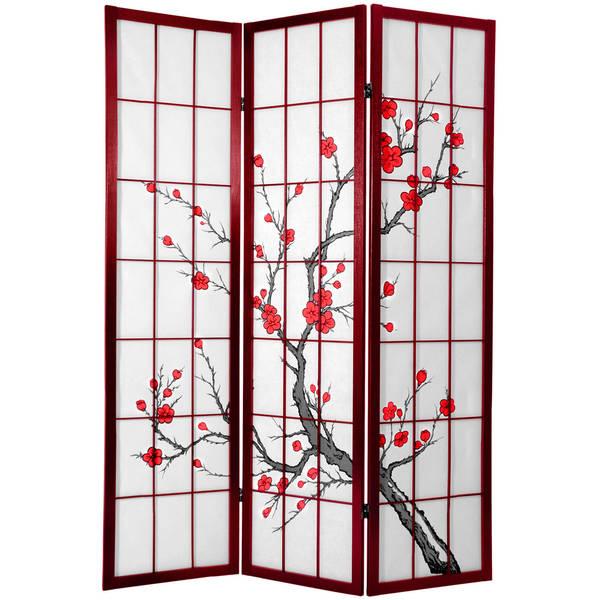 Handmade Cherry Blossom 6-foot Shoji Screen Rosewood (China)